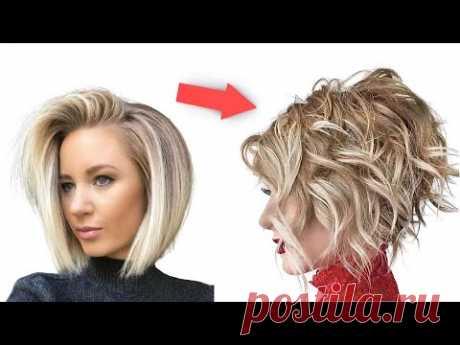 Молодящая Причёска Стрижка Боб Каре Пошагово в домашних условиях   Модная Укладка на средние волосы - YouTube