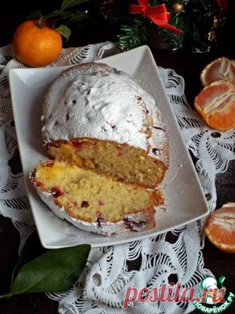 Мини-пирог с мандаринами и клюквой