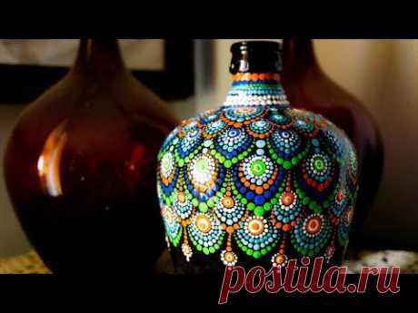 Bottle Art #1 - Dot Painting Mandala Art #13