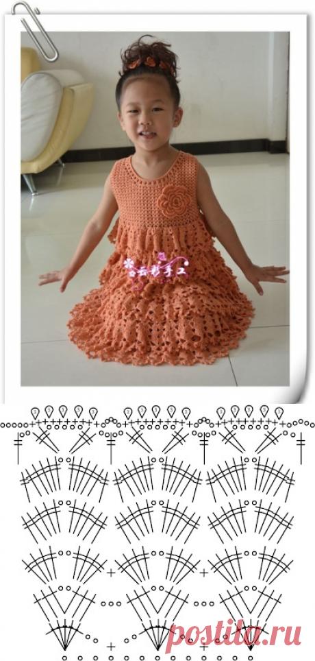 Красивое нарядное платье с оборками для девочки. Платье для девочки связанное крючком