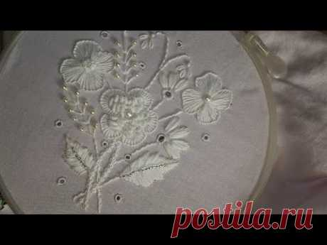 embroidery designs. White embroidery work. embroidery stitches tutorial.