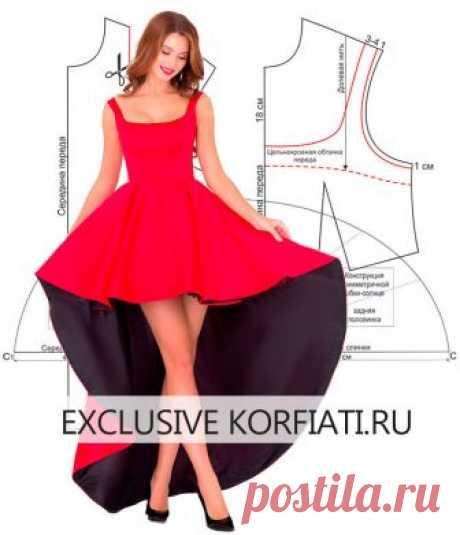 (+2) Построение выкройки платья для выпускного вечера (Шитье, Выкройка)
