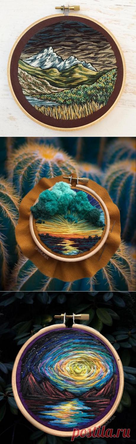 Вышитые шерстью объемные пейзажи — Сделай сам, идеи для творчества - DIY Ideas