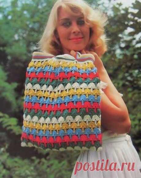 Разноцветная сумочка для походов на пляж! из категории Интересные идеи – Вязаные идеи, идеи для вязания