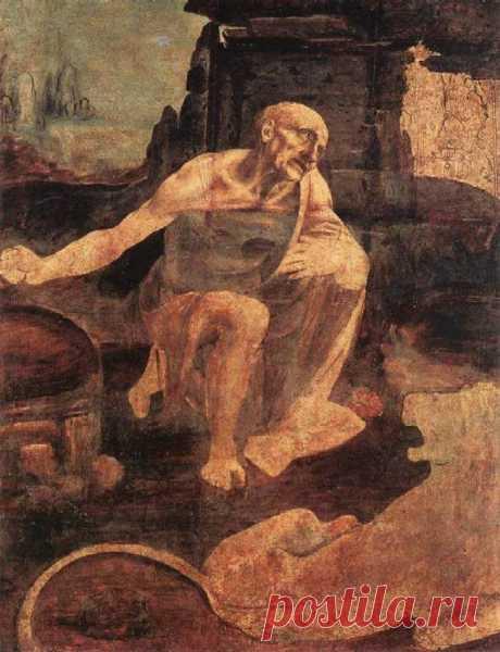 Святой Иероним.~1480-1482, деревo,масло, 103x75cм, Рим (Pinacoteca Vaticana).Эта работа, вероятно, предназначавшаяся для фрески алтаря (Badia), во Флоренции, осталась незаконченной. Пустыня... Бесплодный пейзаж с небольшой скалой. Со страданием на лице, Св. Иероним становится на колени в центре изображённого места. Его левая рука касается края одежды, его правая рука держит камень и готова к удару.