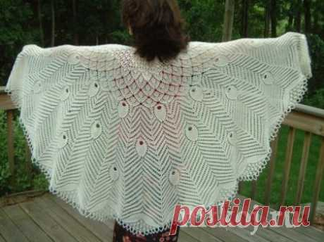 """Чудесная шаль """"Павлиний хвост"""" » Ниткой - вязаные вещи для вашего дома, вязание крючком, вязание спицами, схемы вязания"""
