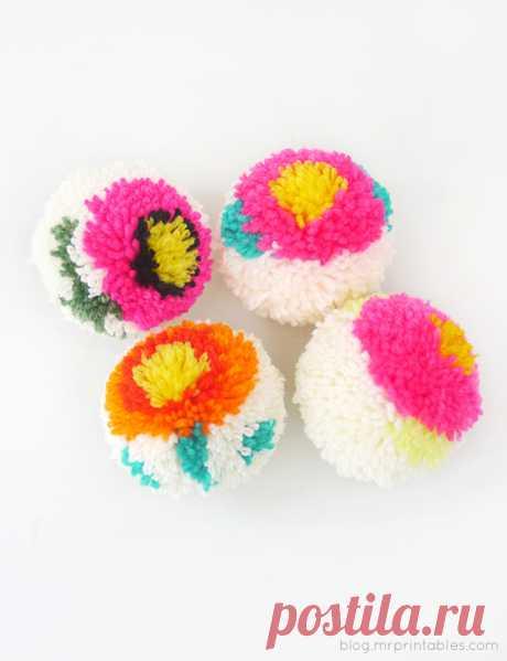 как сделать разноцветный цветочный помпон — мастер-класс