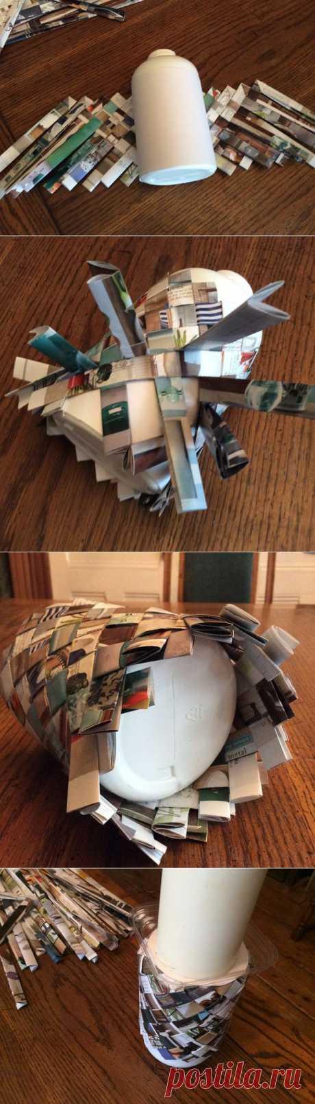 Как сплести круглую корзину из газет — мастер-класс для начинающих | Самоделкино