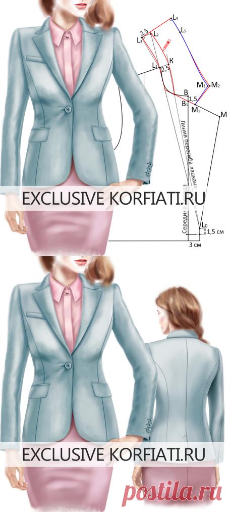 Пиджачный воротник с цельнокроеной стойкой - выкройка от Корфиати