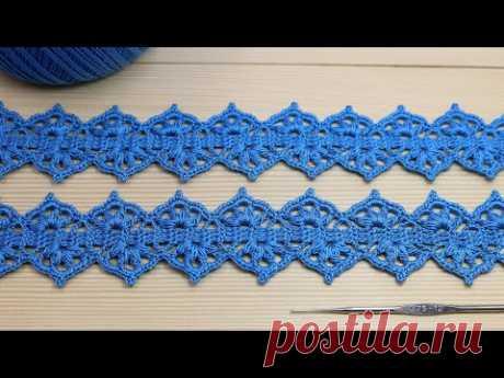 Ажурное ЛЕНТОЧНОЕ КРУЖЕВО простое в вязании крючком МАСТЕР-КЛАСС Easy to crochet lace ribbon