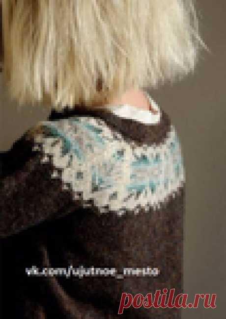 Жаккардовая кокетка для пуловера
