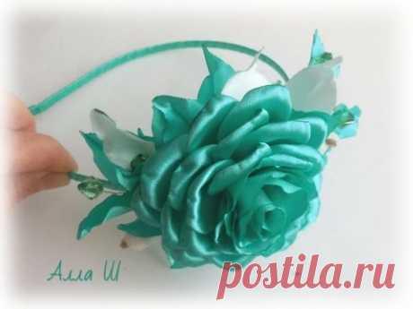 Ободок с розой, МК / DIY Rose Headband / Rose tutorial / Роза канзаши