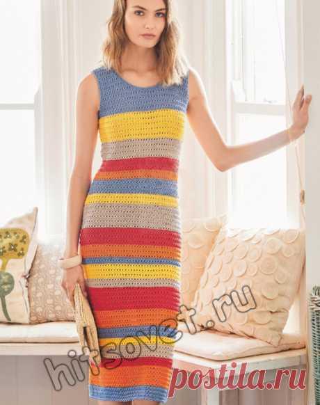 Вязаное длинное полосатое платье - Хитсовет