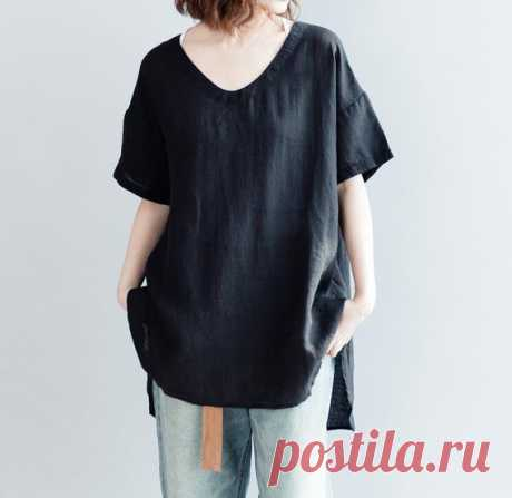 Linen shirt, casual shirt, Linen Blouse for Women, loose Linen top In black 【Fabric】  linen 【Color】 black, white 【Size】 Shoulder width is not limited Shoulder + sleeve 31cm / 12 Bust 128cm / 50 Length 70-79cm / 27-31    Have any questions please contact me and I will be happy to help you.