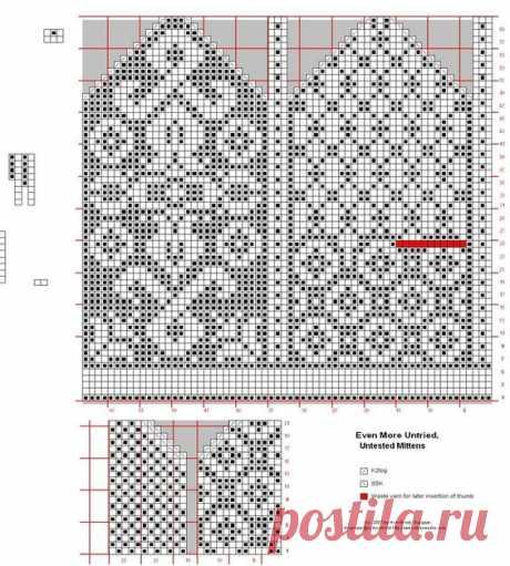 Орнаменты для вязания варежек. ВАРЕЖКИ чёрно-белые схемы