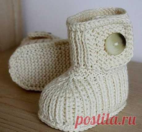 Пинетки ботиночки для малыша (Вязание спицами) — Журнал Вдохновение Рукодельницы