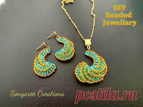 Ammonite Earrings & Pendant set    Seed Beads Spiral Earrings - YouTube