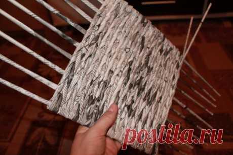 Плетение квадратного дна из газетных трубочек. МК   oblacco