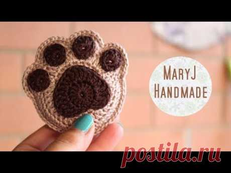 How to crochet a supercute paw print - YouTube