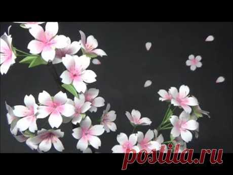 (ペーパーフラワー)可愛い!コピー用紙で桜の花の作り方【DIY】(Paper Flower) Cute! Cherry Blossom