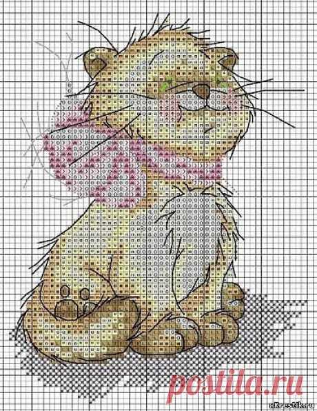 Схема для вышивки крестом: Котенок с бантом - Животные - Каталог статей - Бесплатные схемы для вышивки крестом