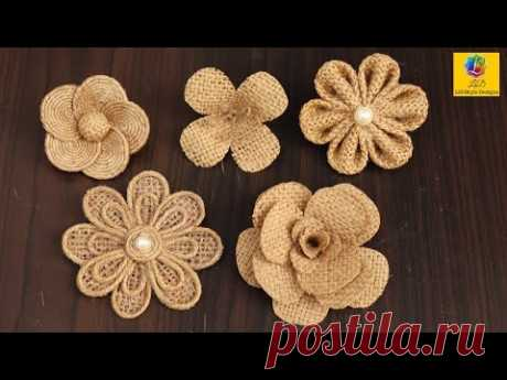 Easy burlap flowers tutorial | Jute craft flower Decoration | Handmade Jute Flower