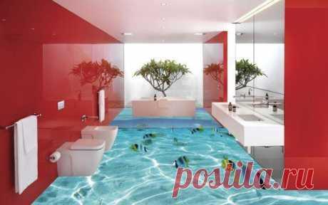 15 идей неповторимых 3D полов для ванной комнаты