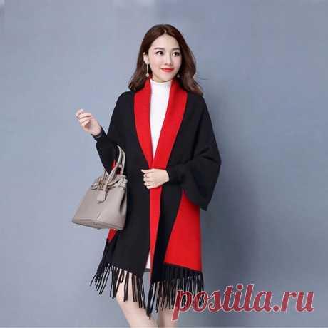 Женское кашемировое пончо Mingjiebihuo, Толстая теплая двухсторонняя однотонная накидка с кисточками и рукавами для осени и зимы | Женские шарфы