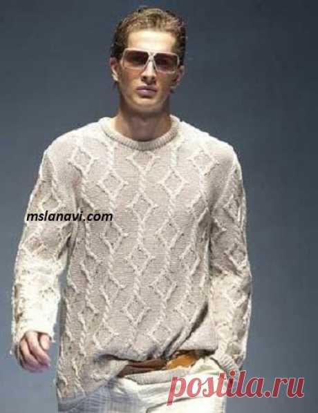 Мужской пуловер с ромбами | Вяжем с Лана Ви