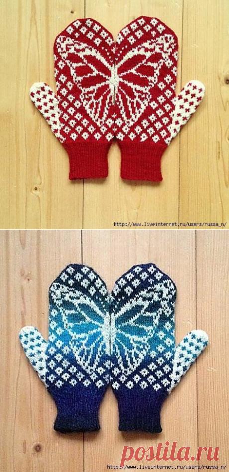 Варежки с бабочкой