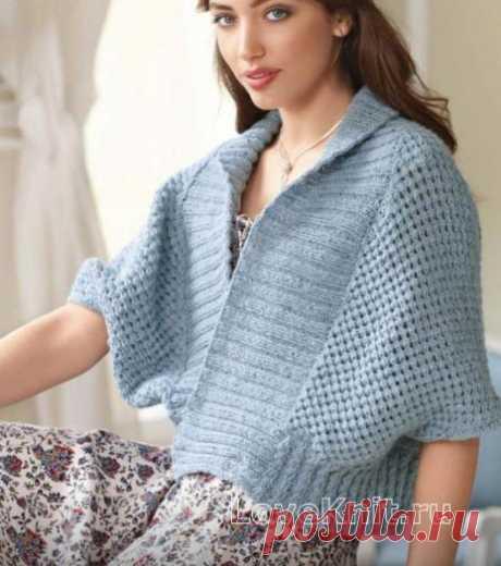 Свободный жилет-кимоно с широкой резинкой схема спицами » Люблю Вязать