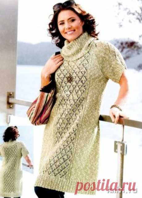 Платье для полных вязание спицами — Мир вязания и рукоделия