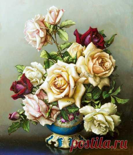 Схема вышивки «ruže vo váze» - Вышивка крестом