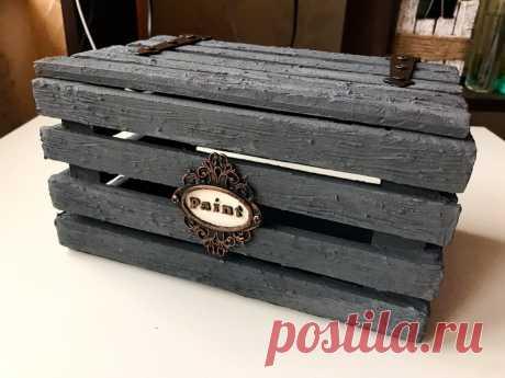 Декоративный ящик из картона своими руками / Имитация дерева. | Фея Мечтающая | Яндекс Дзен