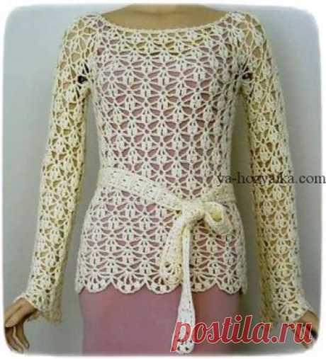 Ажурный пуловер крючком со схемами. Женский летний пуловер крючком со схемами