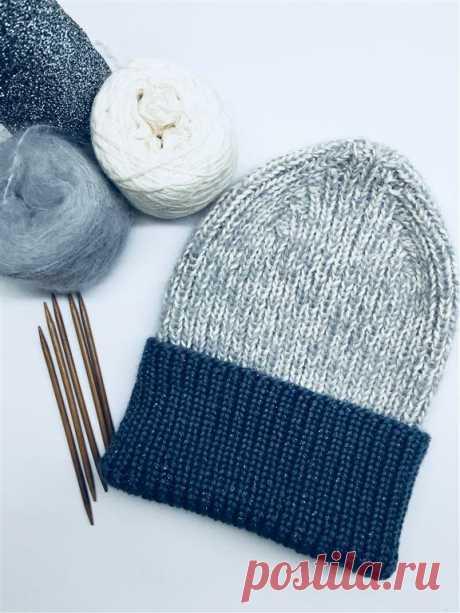 Модная шапка резинкой 1X1! или как связать такую макушку.   Вязание спицами и на машине   Яндекс Дзен
