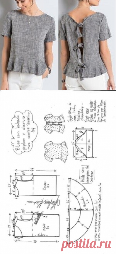 Blusa peplum com manga com abertura nas costas | DIY - molde, corte e costura - Marlene Mukai