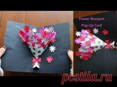 DIY Flower Bouquet Pop up Card 7-Paper Crafts-Handmade Craft