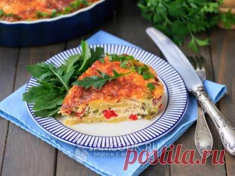 Испанский омлет — рецепт с фото Испанский омлет с картофелем, овощами, колбасой и сыром - это большая сытная запеканка, которую можно приготовить на завтрак, обед и ужин.