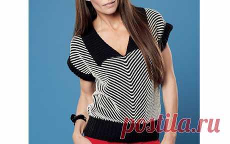 Пуловер с диагональными полосками Вязаный спицами двухцветный пуловер с диагональными полосками. Описание РАЗМЕР: S/M (М/L) L/XL