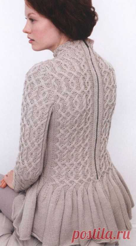 Cabled Peplum Sweater. Свитер спицами