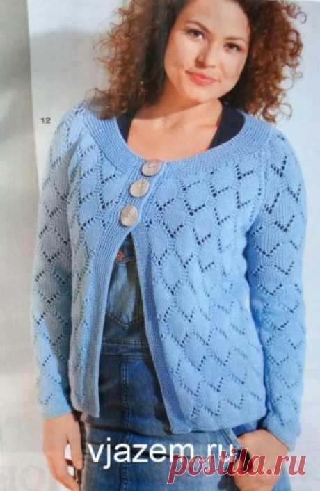 Голубой ажурный жакет спицами для полных женщин со схемами | vjazem.ru