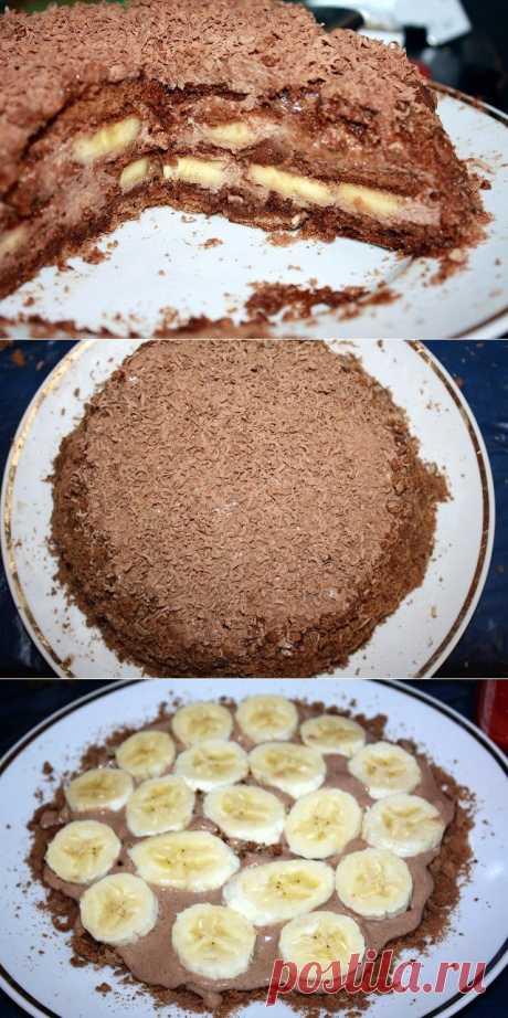 Такой нежный, что тает во рту! Шоколадно-банановый торт из пряников