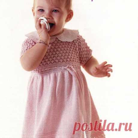 Розовое платье спицами для девочки 1 - 1,5 лет | knittingmania.ru