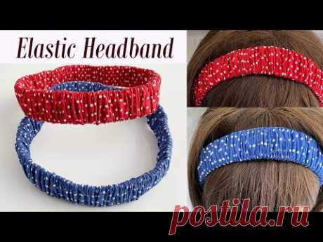 DIY Beautiful Wide Elastic Headband with Ruffle Scrunchie Pattern   How to Make Ruffle Hair Band
