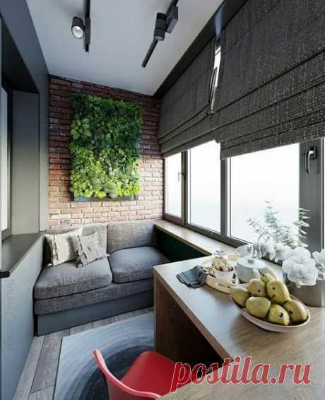 Балкон для релакса и отдыха! Нравится решение с льяняными шторами! Они придают уют и тепло!