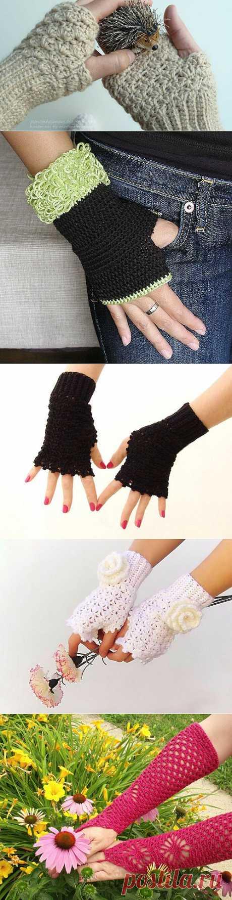 Вязаные крючком варежки без пальцев | 3vision - Fashon blog