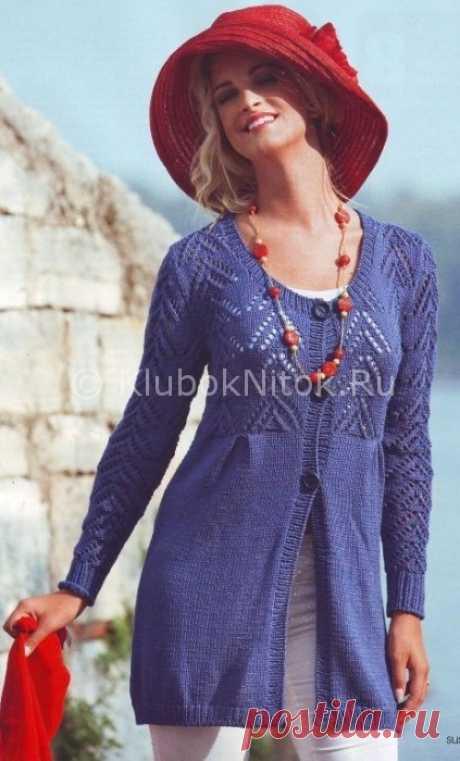 Кардиган с ажурной кокеткой | Вязание для женщин | Вязание спицами и крючком. Схемы вязания.