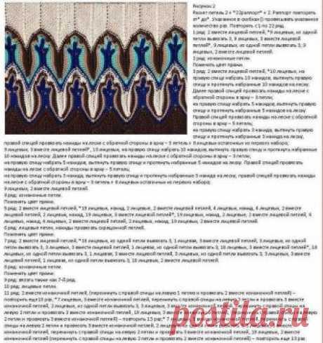 Узор спицами Fox Paws (лисий хвост) по Xandy Peters