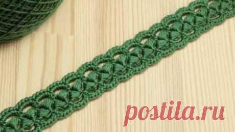 Вязание крючком ленточного кружева на основе шнура из пышных столбиков